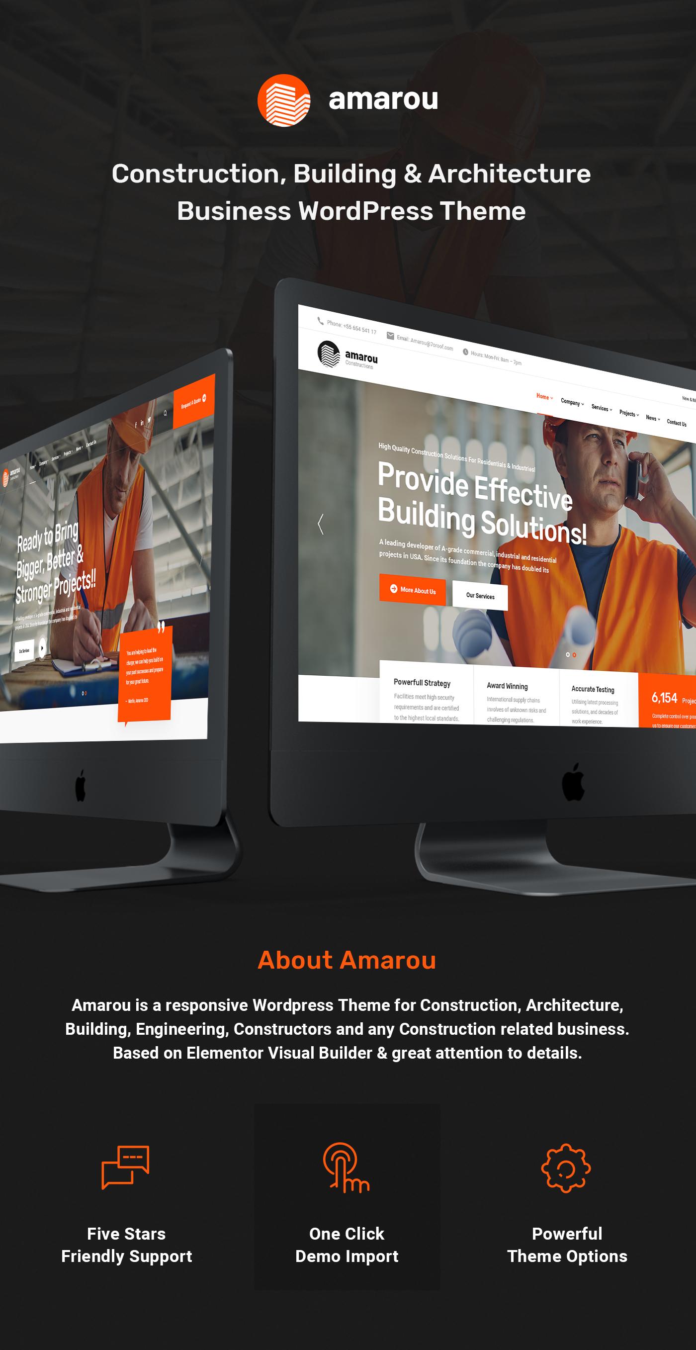 Amarou - Construction, Building & Architecture Business WordPress Theme - 1