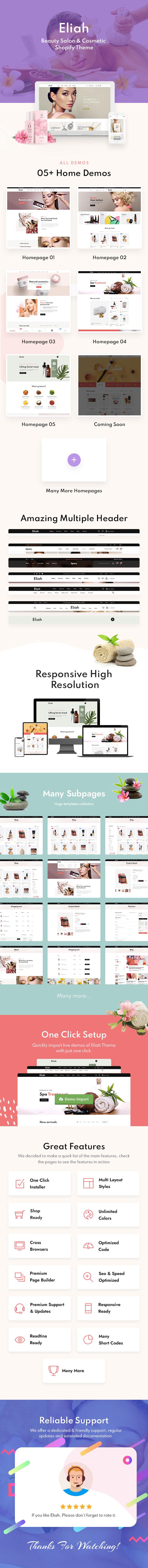 Eliah - Beauty Salon & Cosmetic Shopify Theme - 1
