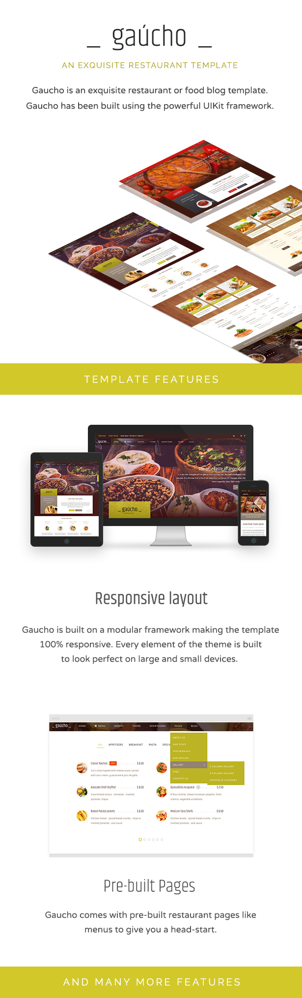 Gaucho is an exquisite food or restaurant HTML responsive template