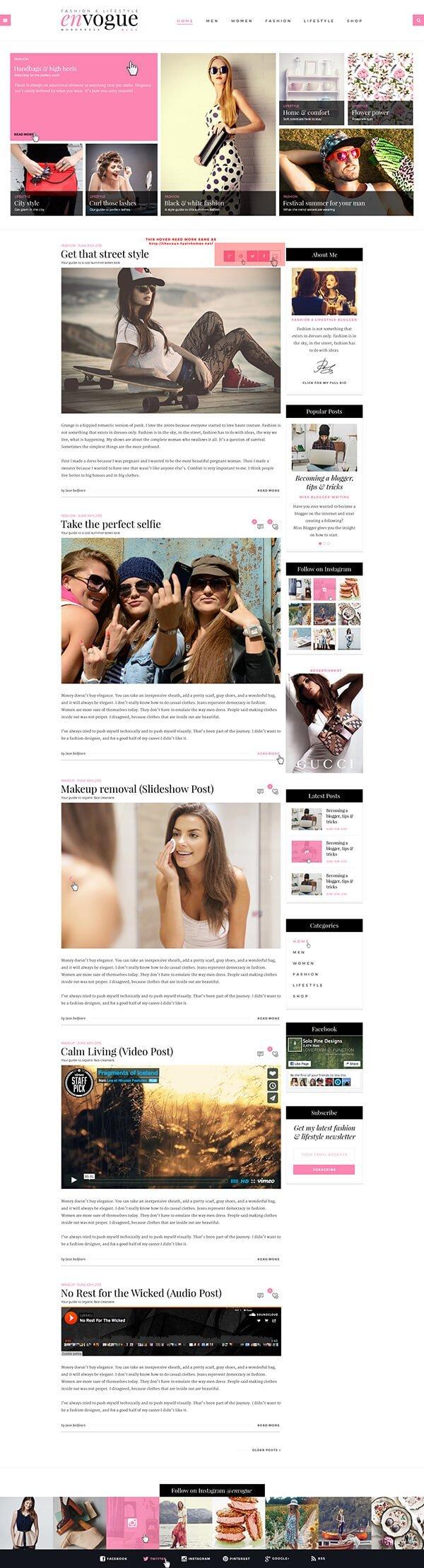 EnVogue | Fashion & Lifestyle Blog WordPress Theme