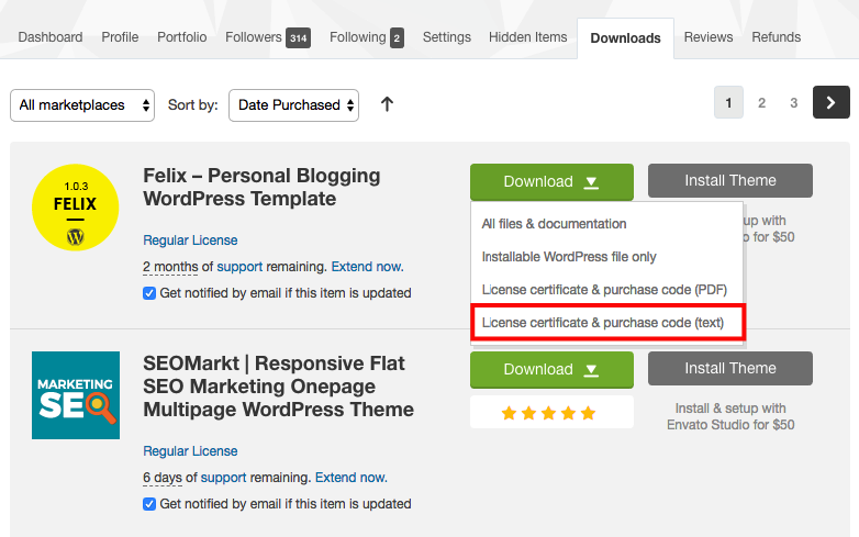 How to find your ThemeForest Item Purchase Code
